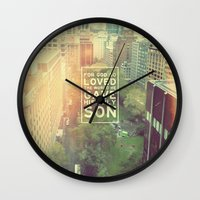 "pocketfuel Wall Clocks featuring John 3:16 ""For God so loved the world"" (Version 2) by Pocket Fuel"