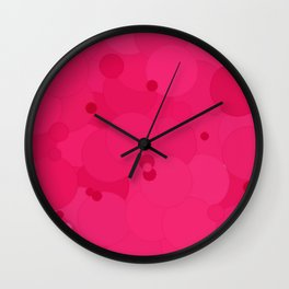 Raspberry Sorbet Bubble Dot Color Accent Wall Clock