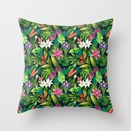 Tropical Lush Sanctuary, A Bohemian Paradise Throw Pillow