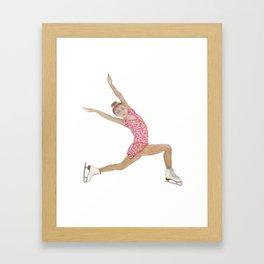 Girl in pink dress. Figure skater Framed Art Print