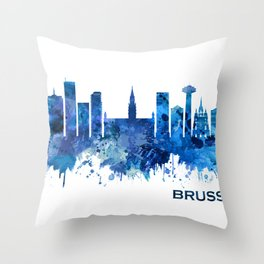 Brussels Belgium Skyline Blue Throw Pillow