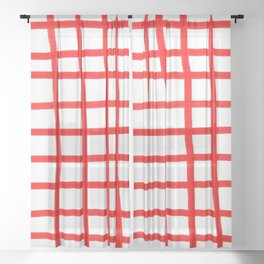 RED GINGHAM Sheer Curtain