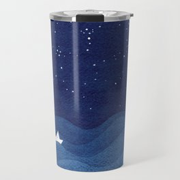blue ocean waves, sailboat ocean stars Travel Mug