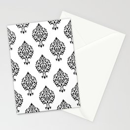 Orna Damask Pattern Black on White Stationery Cards