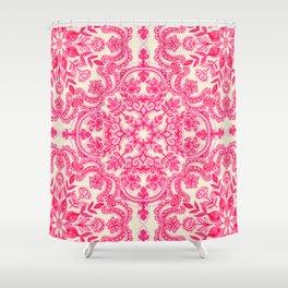 Hot Pink & Soft Cream Folk Art Pattern Shower Curtain