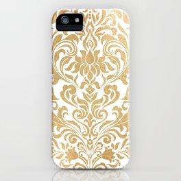 Gold foil swirls damask #12 iPhone Case