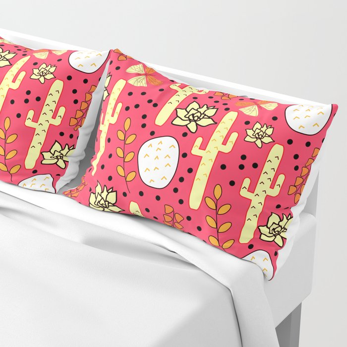 Cacti and butterflies in pink Pillow Sham