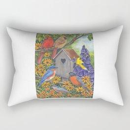 Birds and Birdhouse Rectangular Pillow