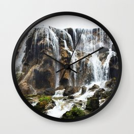 Pearl Shoal Waterwall // Jiuzhaigou Valley Wall Clock