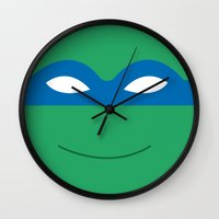 teenage mutant ninja turtles Wall Clocks featuring teenage mutant ninja turtles by Alix Création