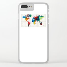 World Map 19 - Colorful Art By Sharon Cumming Clear iPhone Case