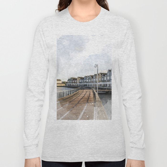 Rainbow Houses. Architectural watercolor and ink drawing Long Sleeve T-shirt