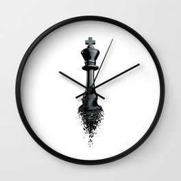 Farewell to the King / 3D render of chess king breaking apart Wall Clock