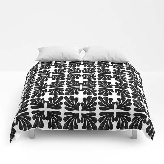 Grace - black and white abstract painting india ink brushstroke watercolor minimal modern urban  Comforters