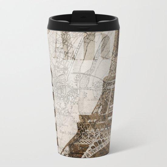 Vintage Paris eiffel tower illustration Metal Travel Mug