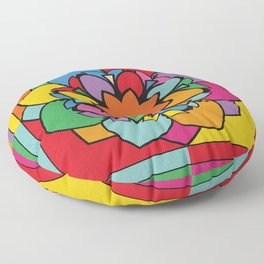 Happy Colorful Mandala Flower Illustration Floor Pillow