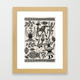 African Senufo Korhogo Tribal Ethnic Art Seamless Pattern Framed Art Print