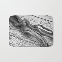 weathered driftwood black and white Bath Mat