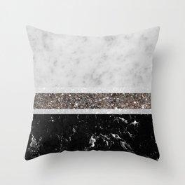 White and Black Marble Silver Glitter Stripe Glam #1 #minimal #decor #art #society6 Throw Pillow