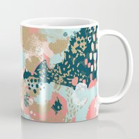 college Mugs featuring Eisley - Modern fresh abstract painting in bright colors perfect for trendy girls decor college by CharlotteWinter