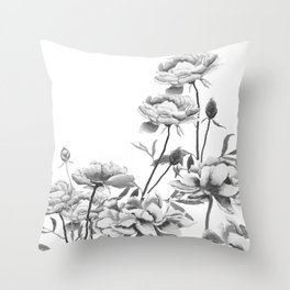 black and white peonies Throw Pillow