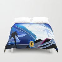 skiing Duvet Covers featuring Cross Country Skiing by Robin Curtiss