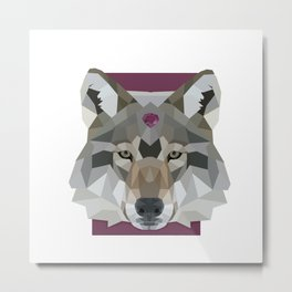 Geo Gem Wolf Metal Print