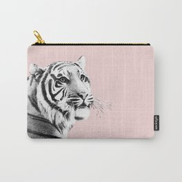 Tiger Black & White on Blush #1 #decor #art #society6 Carry-All Pouch