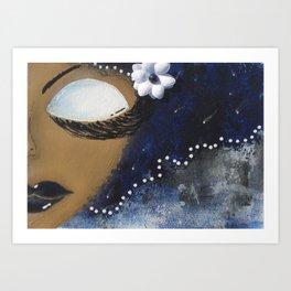 Blue and White Sassy Girl  Art Print