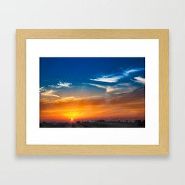 Spectacular sunset and clouds at rural countryside area in rural Italy on beautiful summer time Framed Art Print