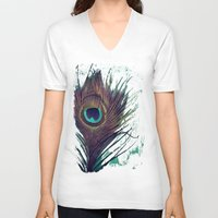 peacock feather V-neck T-shirts featuring Peacock Feather by KunstFabrik_StaticMovement Manu Jobst