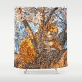 Ginger Cheshire Cat Shower Curtain