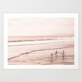 Vintage Sunset Surfing Art Print