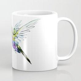 Flying Hummingbird, Blue green wall art minimalist bird Coffee Mug