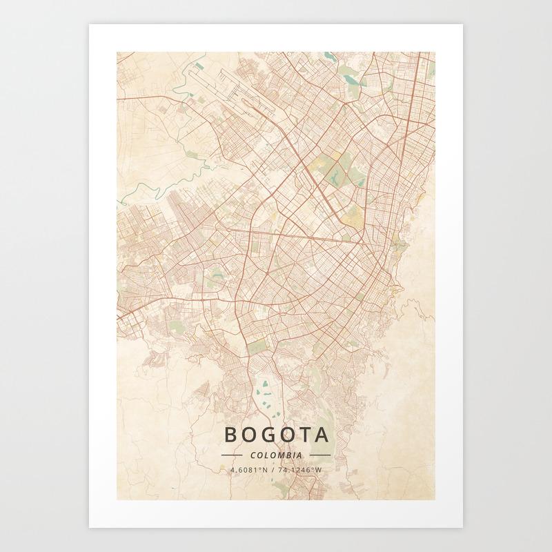 Bogota, Colombia - Vintage Map Art Print