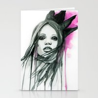 downton abbey Stationery Cards featuring Watercolour Fashion Illustration Portrait Abbey Lee by Elise Reid