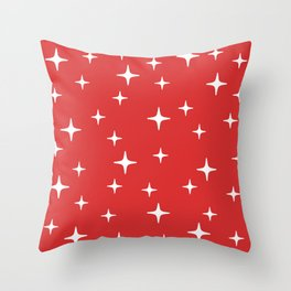 Mid Century Modern Star Pattern 443 Red Throw Pillow
