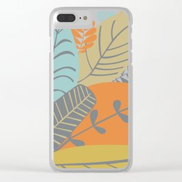 Bright Tropical Leaf Retro Mid Century Modern Clear iPhone Case