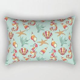 Nautical Seahorse Seashell and Seaweed Pattern Rectangular Pillow