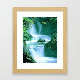 Serene Waterfall in Blue and Green Framed Art Print