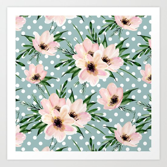Vintage pattern. Watercolor flowers Art Print