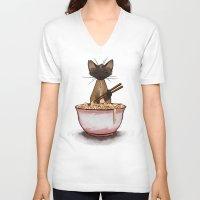 ramen V-neck T-shirts featuring Ramen by Naomi VanDoren