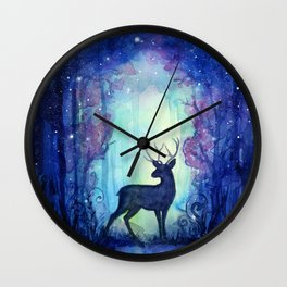 Reindeer in Magical Forest Wall Clock