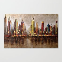 Skycrapers With Water View Canvas Print