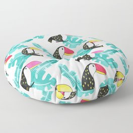Watercolor toucan and leaves Floor Pillow