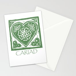 Cariad, darling sweetheart Welsh lino print green Stationery Cards