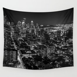 Seattle from the Space Needle in Black and White Wall Tapestry