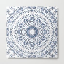 Grayish Blue White Flowers Mandala Metal Print