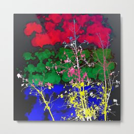 tree branch with leaf and painting texture abstract background in red green blue pink yellow Metal Print