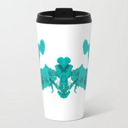 Cyan Ink Drop In Water Travel Mug